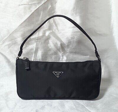 Vintage Prada Tessuto Sport Pouchette Mini Black Nylon Baguette hand bag
