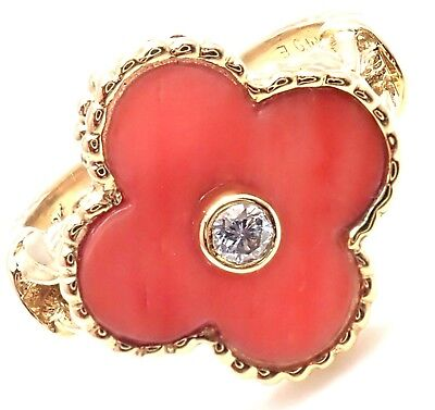Rare! Authentic Van Cleef & Arpels Alhambra 18k Yellow Gold Coral Diamond Ring
