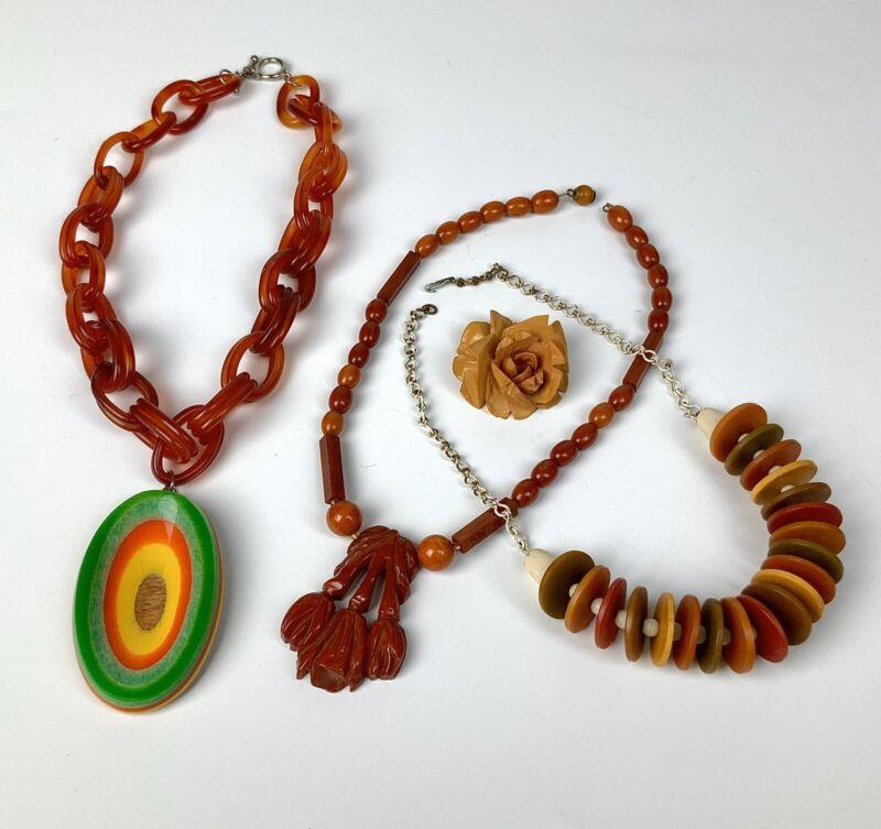 Vintage Lot Bakelite & Celluloid Necklaces & Hand Carved Rose Pendant