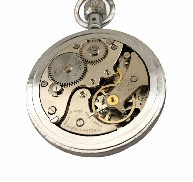 Vintage Minerva Swiss Made 7 Jewel Mechanical Wind Up Stopwatch ~ Working