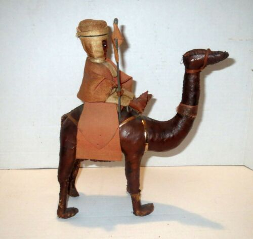 Antique Egyptian Revival - Victorian CAMEL LEATHER SCULPTURE Figurine