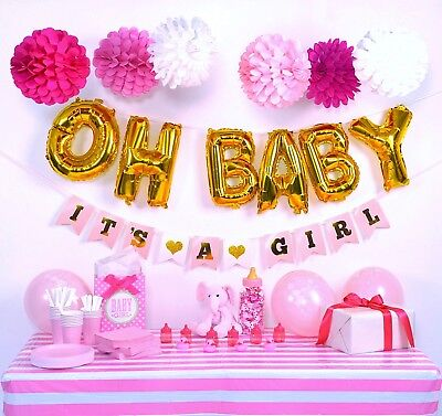 OH BABY balloons baby shower decorations for girl Pink and Gold  - Pink And Gold Baby Shower Decorations