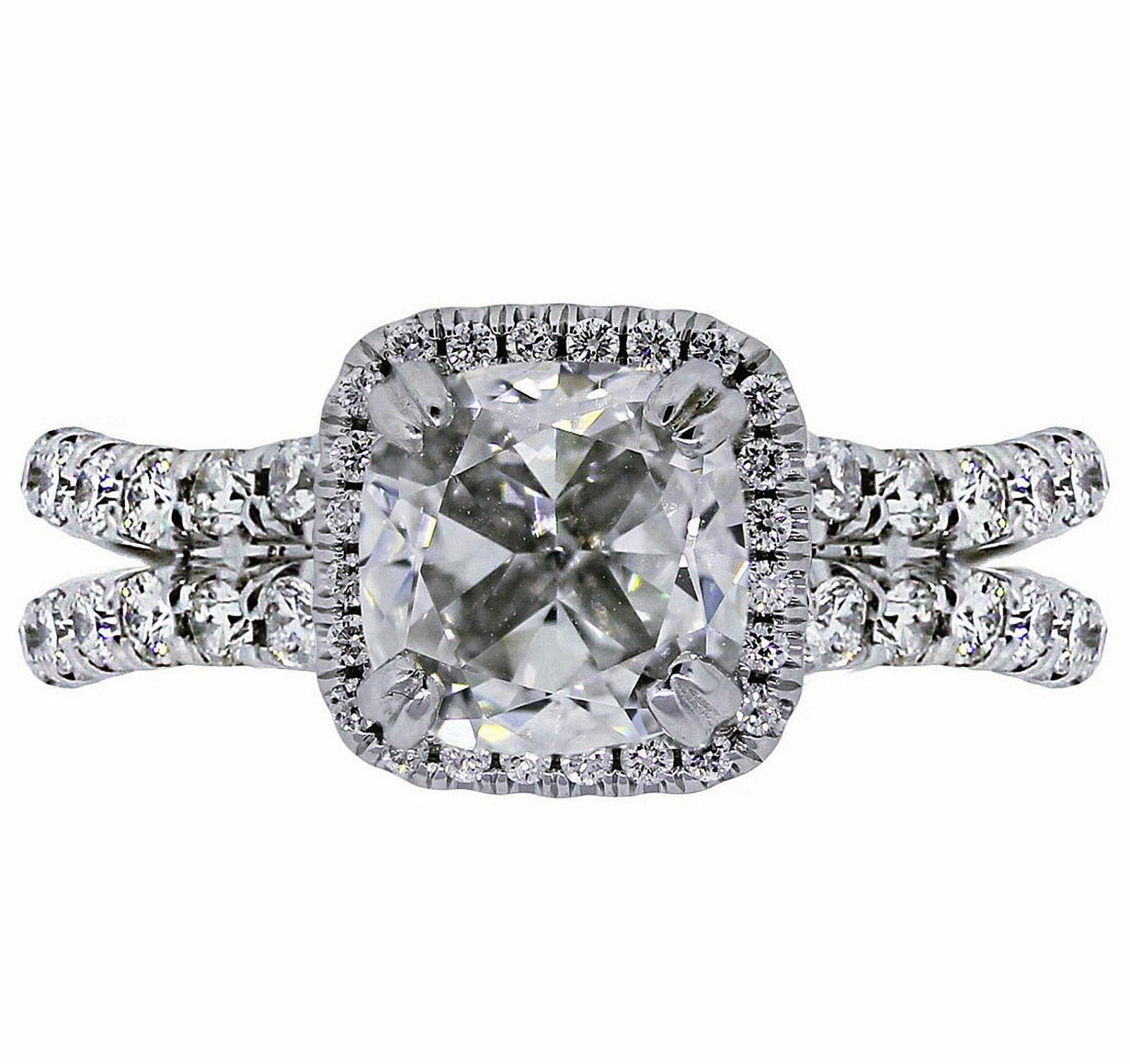 GIA Certified Diamond Engagement Ring Cushion Cut 14k White Gold 2.18 carat 1
