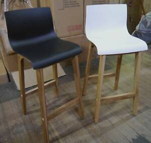 New Scandi Danish Timber Ryan Kitchen Counter Stools Black White