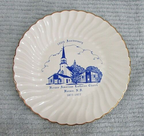 """1877-1977 Horace ND 100th Anniversary American Lutheran Church 7"""" Plate FREE S/H"""