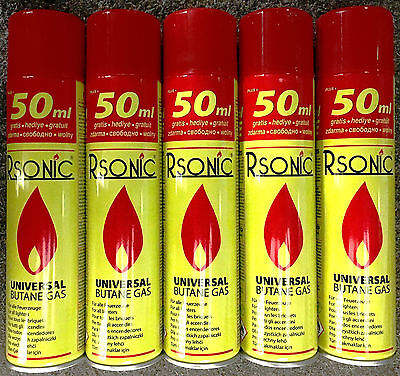 Feuerzeuggas 5x 300ml Nachfüllgas für Feuerzeug,4 Adapter,Universal Butan Gas