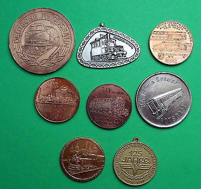 8 pz. medaglie di ferrovia, veicoli su rotaia, locomotive INTERESSANTE