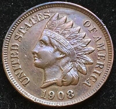 Awesome AU 1908 Indian Head Cent. Scarce Date Higher Grade Coin!