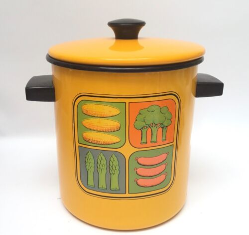 Vintage Enamel Stock Pot Steamer Yellow Retro 70's With Insert