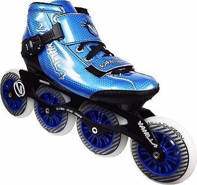 Carbon In Line Skates (Blue VNLA Carbon Inline Speed Skates - 4 X 100mm Wheels Size 1-13 )