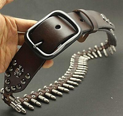 Genuine Leather Rocker Punk Mens Belt Cowhide Retro Bullet Skull Belts For Men
