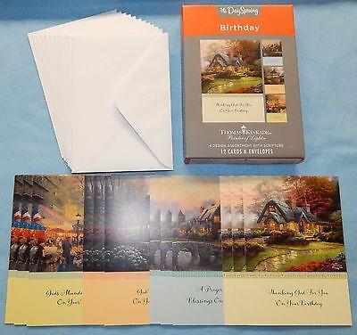 Box of 12 Birthday Cards by Thomas Kinkade {DaySpring #51723} - New (Dayspring Birthday Cards)