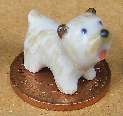1:12 Scale Small Brown & White Ceramic Puppy Dog Ornament Tumdee Dolls House C