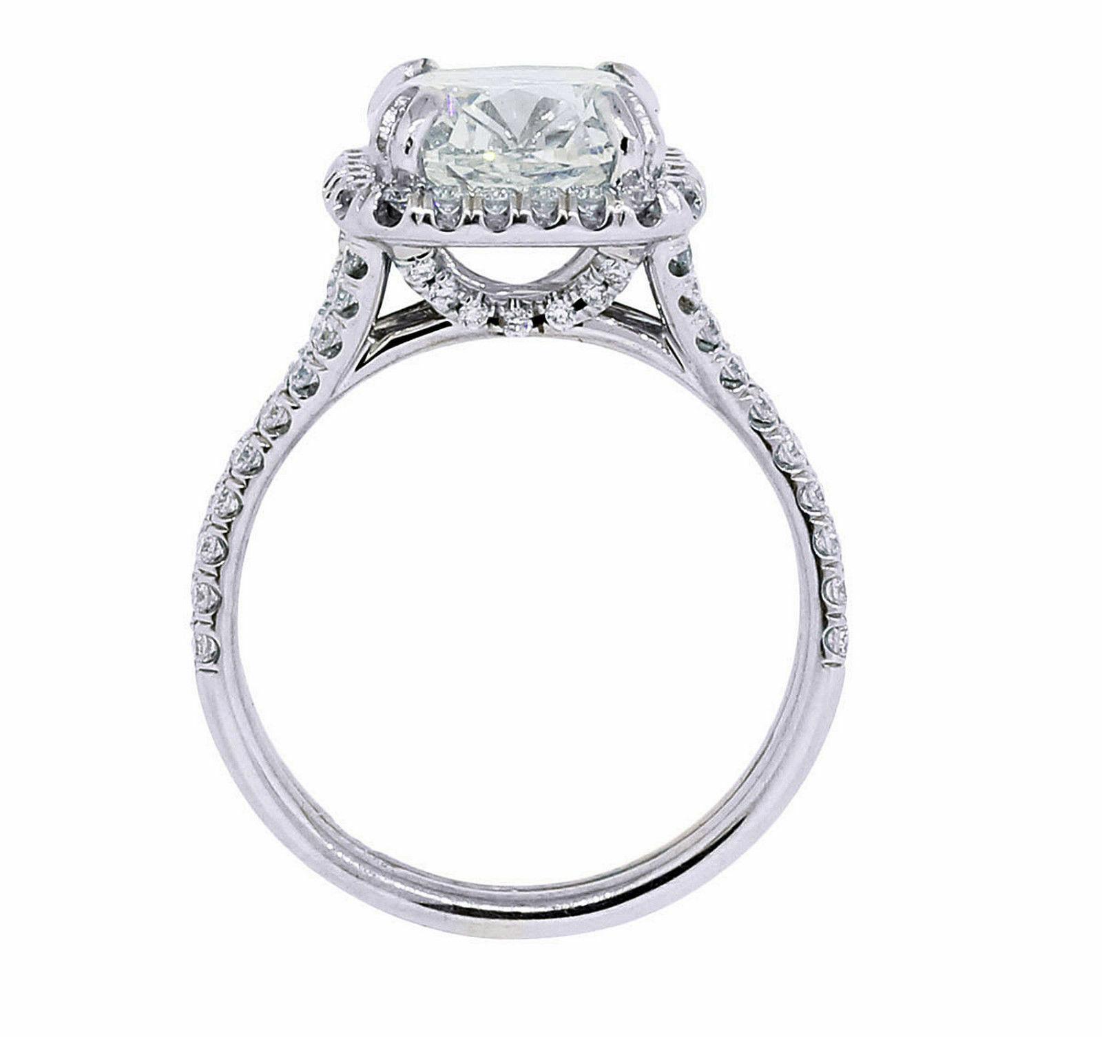 GIA Certified Diamond Engagement Ring Cushion Cut 14k White Gold 2.18 carat 3