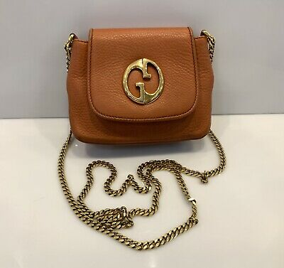 Gucci 1973 Evening Bag Shoulder Chain Clutch GG logo Leather Brown Handbag