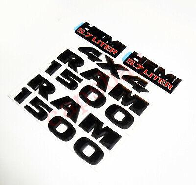 5 Black Dodge RAM 1500 Emblem Badge 3D Letter L Matte Hemi 5.7 Liter Logo 4X4
