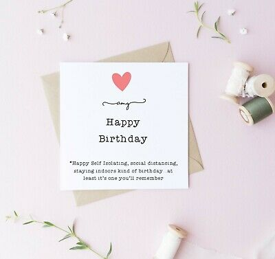 Personalised self isolating Lockdown Birthday card husband wife love friend