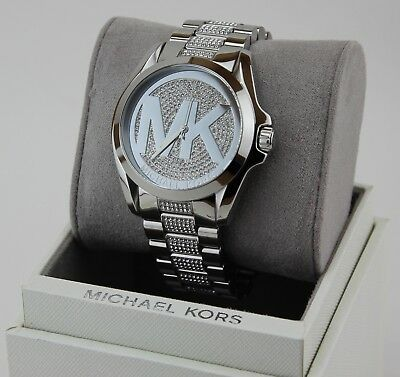 NEW AUTHENTIC MICHAEL KORS BRADSHAW CRYSTALS SILVER WOMEN'S MK6486 WATCH