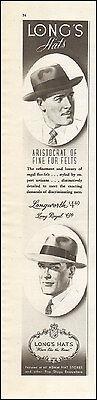 1942 WW2 era AD  LONG'S Men's Hats Fur Felt at all ADAM HAT STORES 062215
