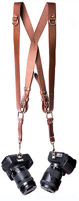 Leather Dual Camera Harness Shoulder Strap Multi Holder Adjustable Size Brown
