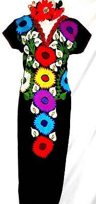 5 de Mayo Mexican Black Maxi Dress Huipil Floral Embroidery Tunic Oaxaca Vtg NWT