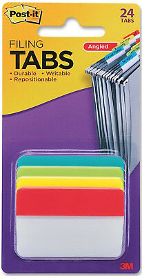 3m Post-it Filing Tabs Angled 2 X 1.5 Primary Wide Colors Repositionable 24pc
