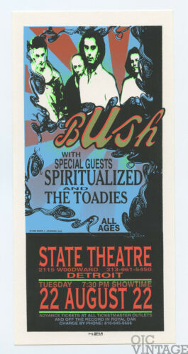 BUSH Handbill 1995 Aug 22 State Theatre Detroit