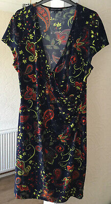 JONES NEW YORK NAVY FLORAL WRAP DRESS SIZE XL (FITS 16) GREAT CONDITION