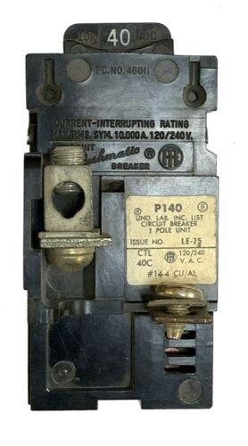 40 Amp Circuit Breaker, Pushmatic Bulldog, UBIP140, Single Pole