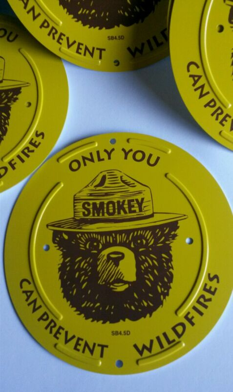 75th Birthday Smokey Bear Prevent Wildfires Boundary Metal Sign