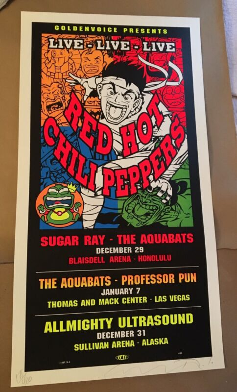 VINTAGE RED HOT CHILI PEPPERS 1998 POSTER SILKSCREEN SIGNED Numbered TAZ  RHCP