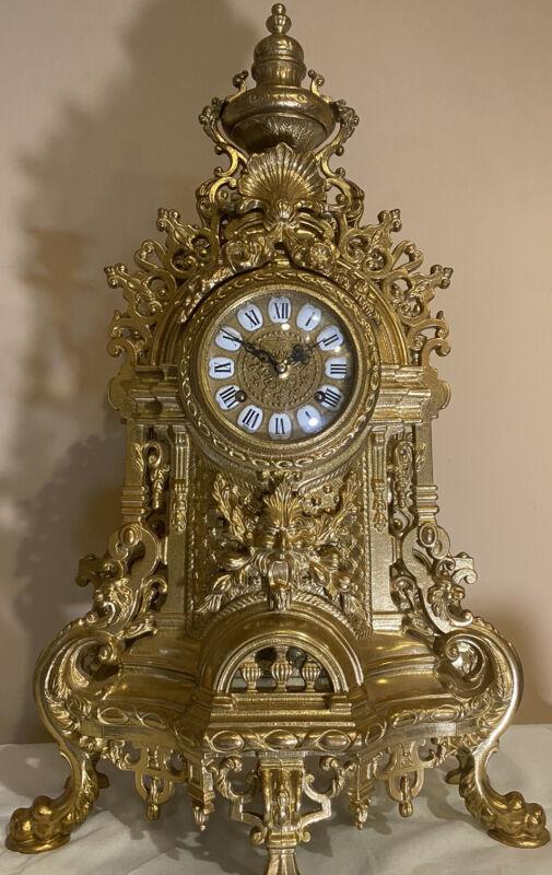 Imperial GB / Franz Hermle Ornate Brass Bell Ringing Mantle Clock VTG 2 Jewel