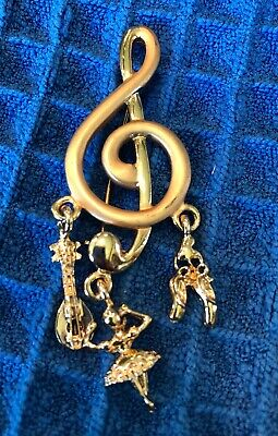 Vintage Gold Pin Brooch Musical Dance Mandolin Ballet Shoes Slippers Treble Clef](Vintage Ballet Costumes)