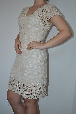 $139 Boston Proper Elegant V-neck crochet cotton dress nude ivory beige size (Naked Cotton Dress)