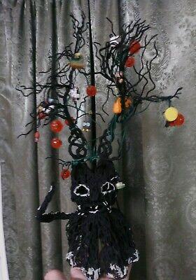 Cute Halloween Cat (Vintage Halloween Cat Tree Folk Art glows glow in the dark vintage vtg rare)