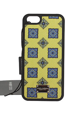 NEW $200 DOLCE & GABBANA Phone Case Cover Leather Yellow Blue Pattern iPhone5/5s