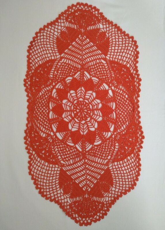 """Oval Floral Centerpiece Hand Crocheted Doily Table Runner Vibrant Orange 16x30"""""""