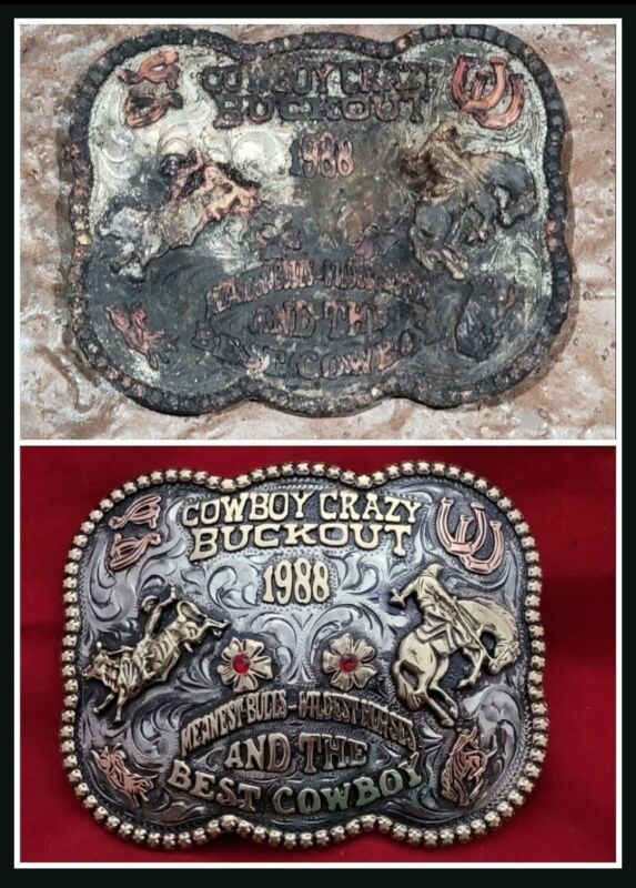 CUSTOMIZABLE RODEO CHAMPION TROPHY BUCKLE BY JUDGE LEO SMITHS BUCKLES 900