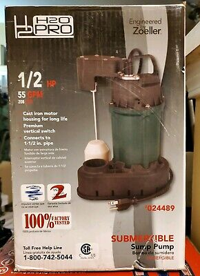 H2o Pro 12 Hp 55 Gpm Submersible Sump Pump Cast Iron 024489 New
