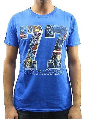 Star Wars 77 Bold Art Logo Blue Heather Men's T-Shirt -