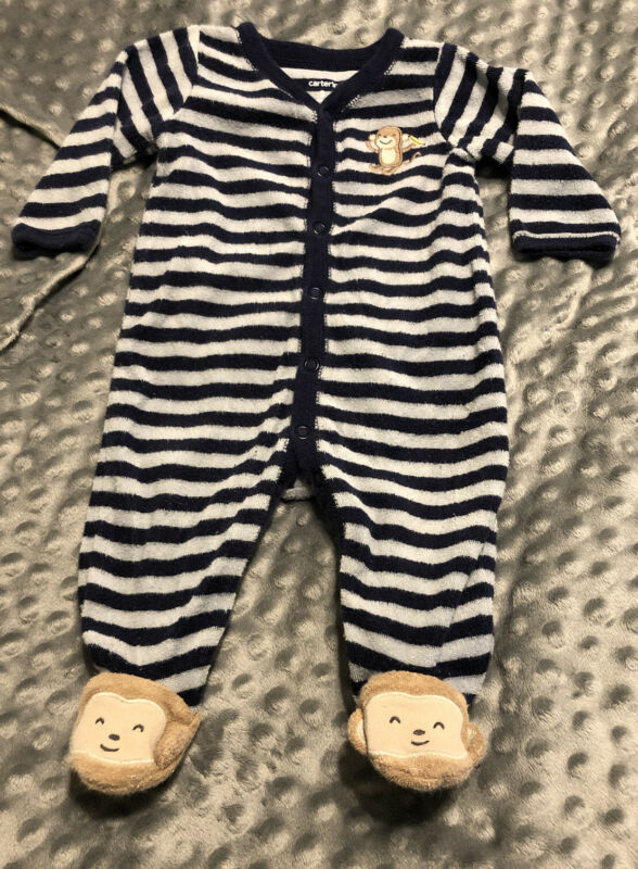Carters Boys Navy Blue Striped Monkey Terry Long Sleeve Pajamas 3 months