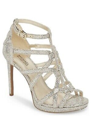 Women MK Michael Kors Sandra High Heel Dress Up Sandal Glitter Fabric Champagne  Michael Kors Womens Dress Sandal