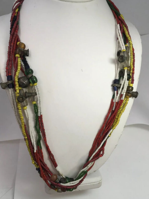 Antique African Trade Beads, Glass, Brass, Amber, Bells, Necklace 26""