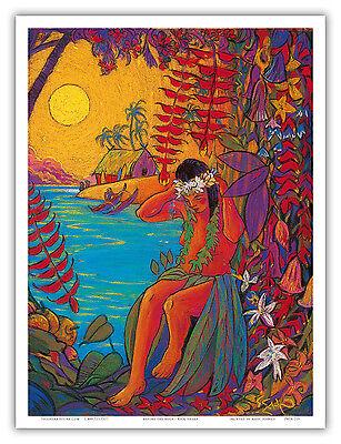 Hawaiian Hula Dancer Wahine Lei Aloha  Vintage Art Poster Print