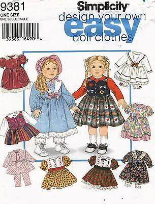 "9381 SEWING PATTERN 18"" AMERICAN GIRL ""DESIGN YOUR OWN"" DOLL CLOTHES Simplicity"