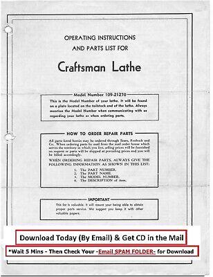 Craftsman-dunlap 6 Metal Lathe 109.21270 Operator Part Manual Cd