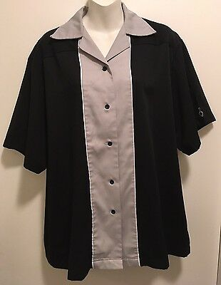 EUC Women's Cruisin USA Rockabilly Retro Gray & Black Bowling Shirt L