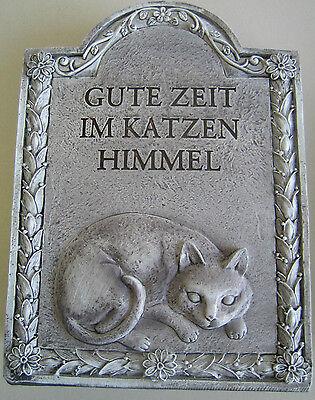 Tiergrabstein Tiergedenkstein Grabstein Katze mit Himmels Spruch ca 12x17 cm