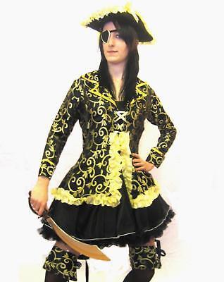Gold & Black Pirate Girl Women Fancy Dress Costume Outfit 5 Pcs