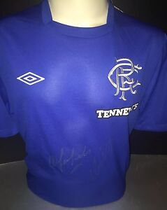 Signed Rangers Retro 1972 Shirt by Colin Stein and Willie Johnston